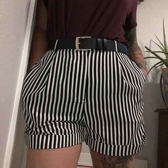 American Apparel Pants - Women's striped high waist American apparel shorts